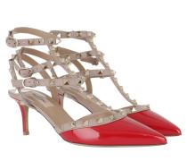 Ankle Strap Rockstud Sandali Con Tacco Rosso Pumps