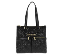 Shopper Tote Bag Quilted Nappa Nero