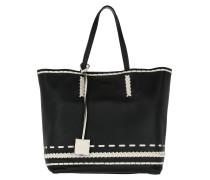 Gipsy Shopping Bag Medium Nero / Stucco weiß