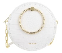 Umhängetasche Millah Textured Handle Croc Emboss Circle Crossbody Bag Ivory