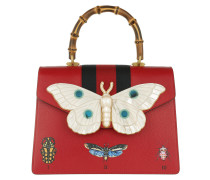 Top Handle Bag With Moth Hibiscus Red Tote