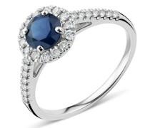 Ring 18K Diamond and Sapphire