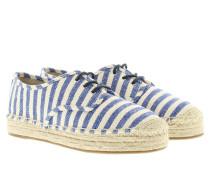 Espadrilles - Kendrick Lace Up Stripe Canvas Nature/Blue