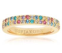 Ring Corte Due Multicoloured Zirconia 18K Gold Plated