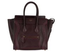 Micro Luggage Multistitch Shiny Smooth Burgundy Tote rot