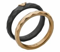 Ringe Men Faceted Stainless Steel Ring Set
