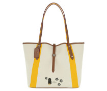 Embroidered Detail Market Tote Chalk Yellow beige