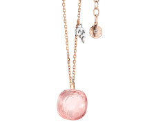 Halskette Necklace Happy Holi Rose Quartz Cabochon Rosegold