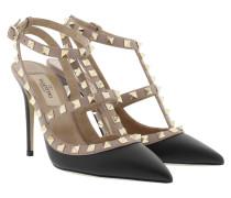 Rockstud Ankle 3 Strap Pump Nero/Poudre Pumps beige