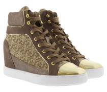 Sneakers - Furr Wedge Sneaker Logo Fabric Beige Brown