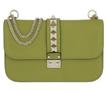 Rockstud Lock Shoulder Bag Medium Acid Grass