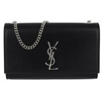 YSL Monogramme Chain Clutch Grain De Poudre Black