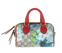 GG Blooms Mini Top Handle Bowling Beige Blue Hibiscus/Red Bag