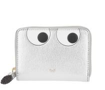 Small Zip Round Wallet Eyes Silver Metallic