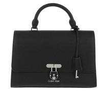 Satchel Bag Flap Top Handle Medium Black