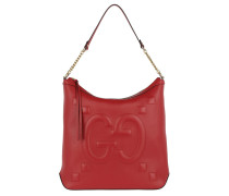 Embossed GG Hobo Bag Hibiscus Red