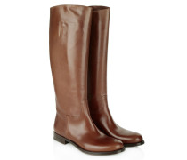 Flat No Zip Leather Boot Brown