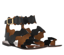 Lauren Flat Sandal Smooth+Suede Calfskin Black Sandalen