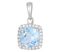 Anhänger 14 KT Aquamarine with Diamonds Cushion Pendant