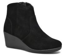 Leigh Suede Wedge Bootie Stiefeletten & Boots in schwarz