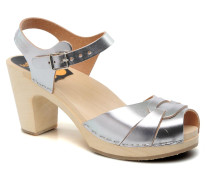 Peep toe super high Sandalen in silber