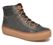 High Rise Leather Wool Sneaker in schwarz