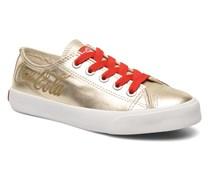 Plain leather Low Sneaker in goldinbronze