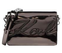 K Signature Gloss Shoulder Bag Metallic Handtaschen für Taschen in grau