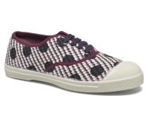 Tennis Dots on Tweed Sneaker in weinrot
