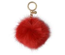 Fluffy Faux Pompon Portemonnaies & Clutches für Taschen in rot