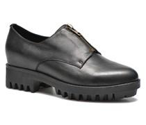 Front Zip Schnürschuhe in schwarz