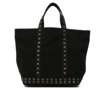 Cabas cuir velours œillets L Handtaschen für Taschen in schwarz