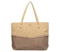 Cabas mix matière détail franges Handtasche in beige