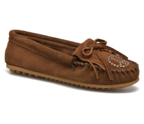 Kilty Suede Moc With Peace Sign Slipper in braun