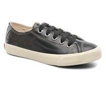 Plain leather Low Sneaker in schwarz