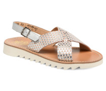 Ripple Cross Buckle Sandalen in silber