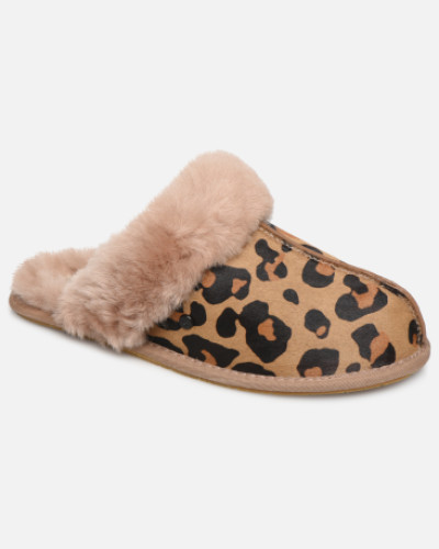 Scuffette II Leopard Hausschuhe in braun