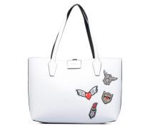 Cabas Reversible Patchs Bobbi Noir Handtaschen für Taschen in weiß