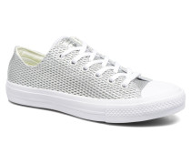 Chuck Taylor All Star II Ox Perf Metallic Leather Sneaker in silber