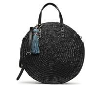Straw Circle Tote Handtasche in schwarz