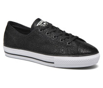 Ctas High Line Metallic Leather Ox Sneaker in schwarz