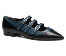 Georgette Calf Ballerinas in schwarz