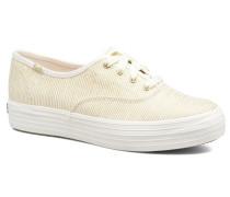 Triple Metallic Stripe Sneaker in beige