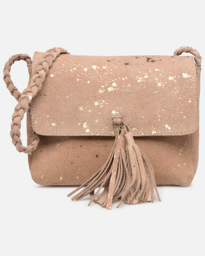 BRANDY SUEDE CROSSBODY Handtasche in goldinbronze