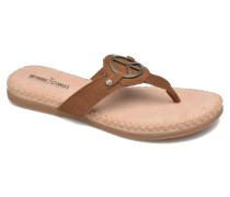 Thong With Peace Sign Sandalen in braun