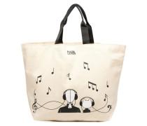 Canvas Music Shopper Handtaschen für Taschen in weiß