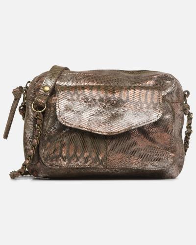 Naina Leather Crossover Handtasche in goldinbronze
