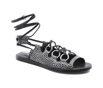Kali multi ring lace up Sandalen in schwarz