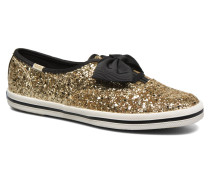 Ch Laceless Kate Spade Tuxedo Bow Glitter Sneaker in goldinbronze