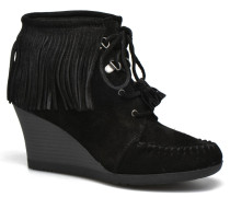 LaceUp Fringe Ankle Wedge Boot Stiefeletten & Boots in schwarz